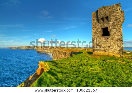 Ruins of old castle on Cliffs of Moher, Ireland