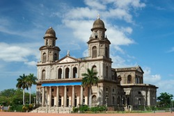 Ruins of old cathedral in Managua Nicaragua. Central square in Managua