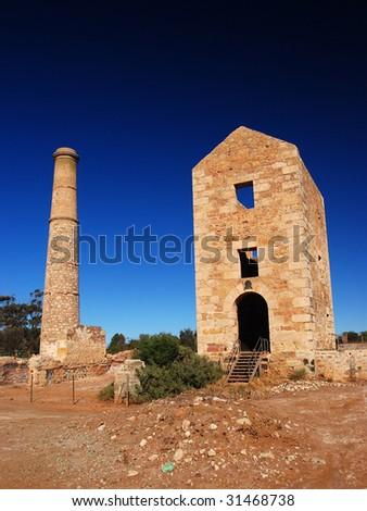 "ruins of old cooper mine factory in ""south-Australia"", Australia"