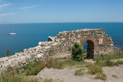 Ruins of old fortress in architectural-historic complex old town Sozopol, Sozopol, Bulgaria