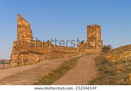 Ruins of old fortress in Crimea - road along the fortress wall