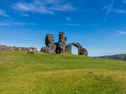 Ruins of old iron age hill fort called Castell Dinas Bran above Llangollen in Wales UK