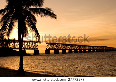Ruins of old railroad bridge in sunset, Florida Keys