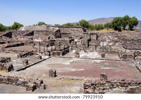 Ruins of old stone houses in Teothuacan, Mexico