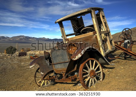 Ruins of old truck and mining building at Berlin, Nevada