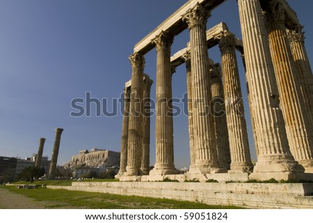 Ruins of Olympia temple in Athens, Greece