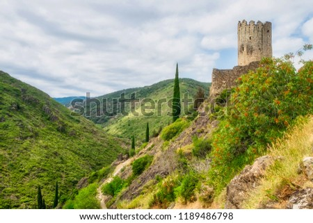 Ruins of one of four medieval cathar castles Lastours in the mountain valley of Pyrenees, France