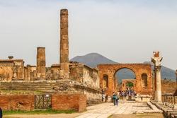 Ruins of Pompeii with Mount Vesuvius