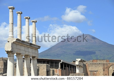 Ruins of pompeii with volcano vesuvius. Naples, Italy