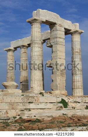 Ruins of Poseidon Temple at Cape Sounion near Athens, Greece