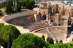 Ruins of roman amphitheater in Cartagena port city, Autonomous Community of Murcia, southeastern Spain
