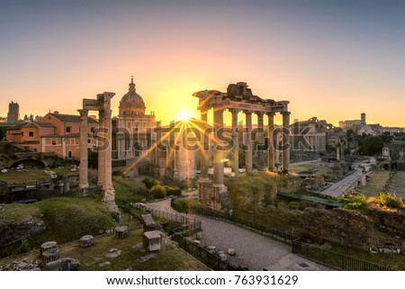 Ruins of Roman's forum at sunrise, ancient government buildings , temple and shrine of Roman empire