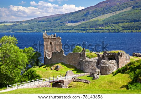 Ruins of Scotland Urquhart Castle near Loch Ness like