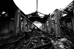 Ruins of some factory in black and white