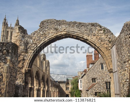 Ruins of St Augustine Abbey in Canterbury UK