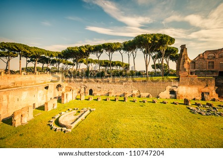 Ruins of Stadium Domitanus at the Palatine Hill, Rome, Italy