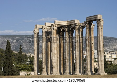 Ruins of Temple of Olympian Zeus in Athens, Greece