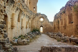 Ruins of the Abbey of Bellapais in the Northern Cyprus. Bellapais Abbey is the ruin of a monastery built by Canons Regular in the 13th century near the Kyrenia (Girne).