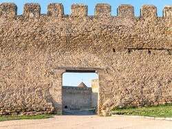 Ruins of the Akkerman Fortress. Bilhorod-Dnistrovskyi fortress, Ukraine. Exteriors of the fortress on a sunny summer day.