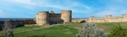 Ruins of the Akkerman Fortress. Panoramic view of Bilhorod-Dnistrovskyi fortress, Ukraine. Exteriors of the fortress on a sunny summer day.