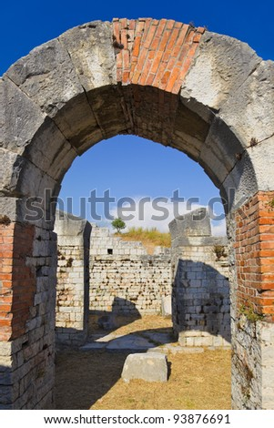 Ruins of the ancient amphitheater at Split, Croatia - archaeology background