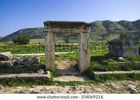 ruins of the ancient city of Hierapolis spring time,Turkey