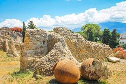 Ruins of the ancient Italian city of Pompeii and Mount Vesuvius