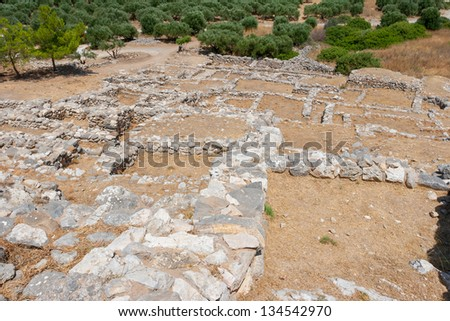 Ruins of the ancient Minoan settlement Gournia. Crete, Greece