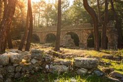 Ruins of the aqueduct of the ancient ancient city of Phaselis illuminated by the bright sun in Pine forest, woods in sunny weather in Turkey, Antalya, Kemer. Turkey national nature landmarks.