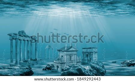 Ruins of the Atlantis civilization. Underwater ruins Photo stock ©