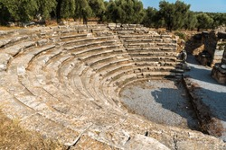 Ruins of the bouleuterion (municipal senate) in Nysa ancient city in Aydin province of Turkey.  The bouleuterion, later adapted as an odeon, with 12 rows of seats, offers room for up to 600-700 people