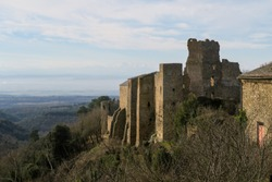 Ruins of the cathar castle of Saissac in the south of France