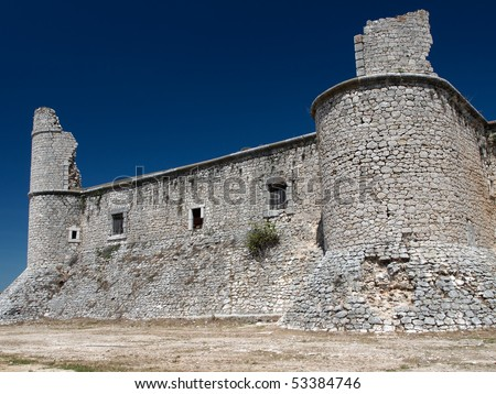 Ruins of the Chinchon castle, Madrid, Spain - stock photo