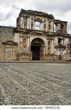 Ruins of the church in Antigua, Guatemala. - stock photo