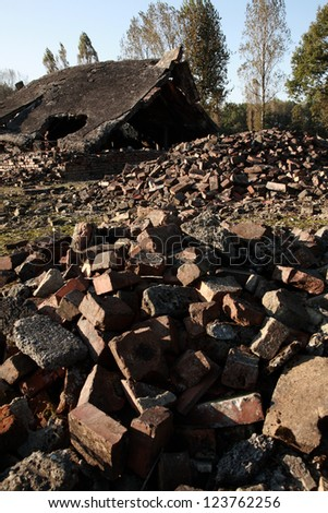 Ruins of the crematoria and gas chambers, Auschwitz concentration camp, Poland