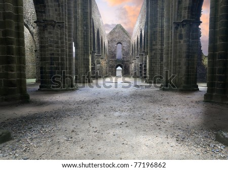 Ruins of the famous cathedral. High density range image