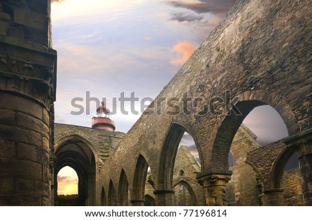 Ruins of the famous cathedral with lighthouse. High density range image