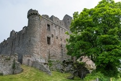Ruins of the famous Craigmillar castle keep from outside, Scotland, UK