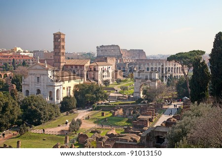 Ruins of the forum and colloseum in Rome, Italy