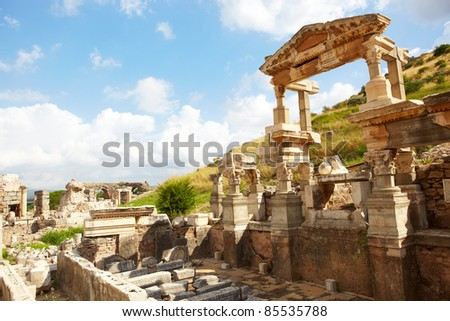 Ruins of the Fountain of Traian in the city of Ephesus in modern day Turkey