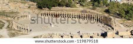Ruins of the Greco-Roman city of Gerasa. Ancient Jerash, in Jordan.