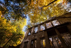 """Ruins of the laboratory of Thomas """"Carbide"""" Willson (1860-1915) in autumn. Gatineau Park, Quebec, Canada"""