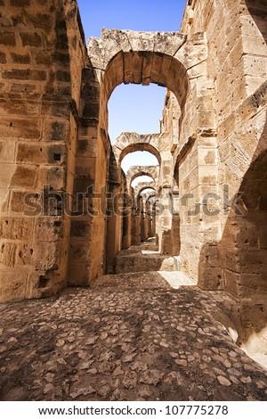 Ruins of the largest colosseum in El Jem,Tunisia. UNESCO