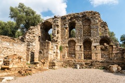Ruins of the library at Nysa ancient site in Aydin province of Turkey. Built around AD 130, this multi-functional building served as a library, auditorium and courthouse.