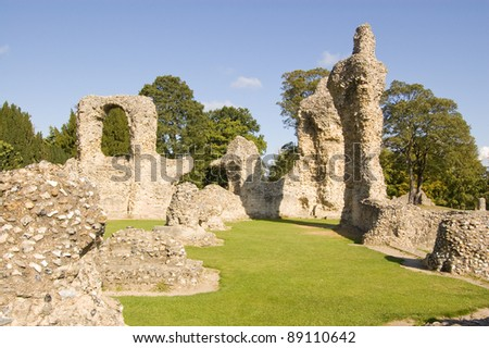 Ruins of the medieval Abbey in the Suffolk town of Bury St Edmunds.