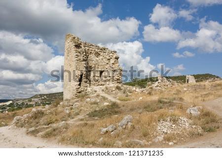Ruins of the old fortress of Kalamita. Inkerman. Crimea, Ukraine - stock photo