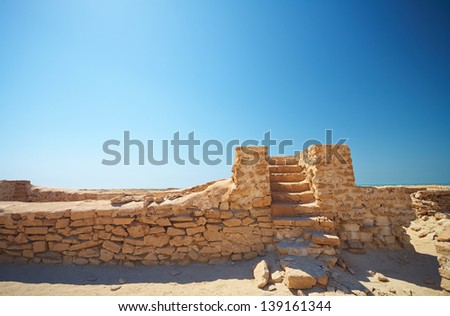 Ruins of the original trading post just a few hundred meters from Fort Al Zubarah in the northern Qatar desert, Middle East