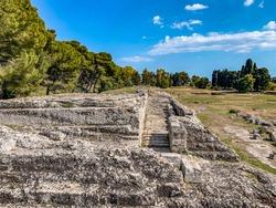 ruins of the Roman amphitheater in Syracuse Il Parco Archeologico Della Neapolis in Siracusa, Sicilia