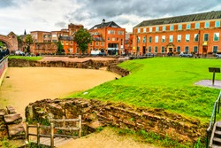 Ruins of the Roman amphitheatre in Chester - Cheshire, England