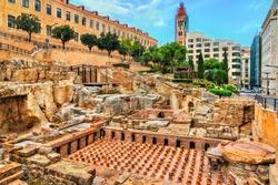 Ruins of the Roman Baths of Berytus in Beirut, Lebanon